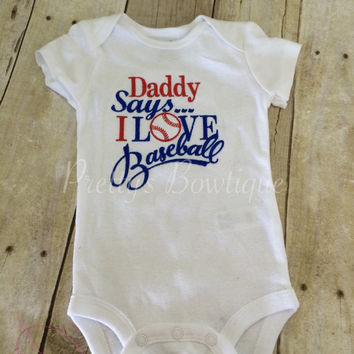 Baseball Daddy says i love baseball bodysuit. Can customize colors