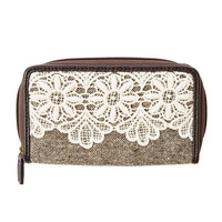 Chocolate Brown Faux Leather, Tweed and Crocheted Lace Zip Around Wallet