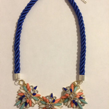 Navy and Coral Statement Necklace