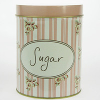 Retro Vintage Sugar Flower Stripe Kitchen Coffee Tea Sugar Candy Biscuit Container Jar Tin Metal Zakka
