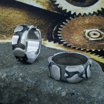 Cracked Earth Ring Band, Black Silver Plated, Silver, Cracked Earth, Lava, Rock Formation, Earth Crust, BN013A