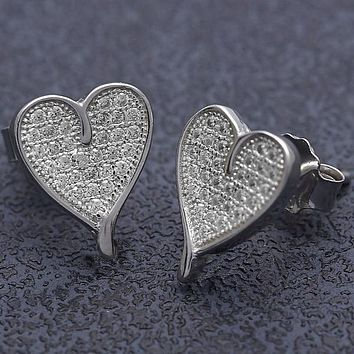 Sterling Silver Women Heart Stud Earring, with White Micro Pave, by Folks Jewelry
