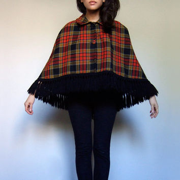 70s Plaid Wool Cape Fringe Black Red Yellow Collared Capelet Fall Fashion - Medium Large M/ L