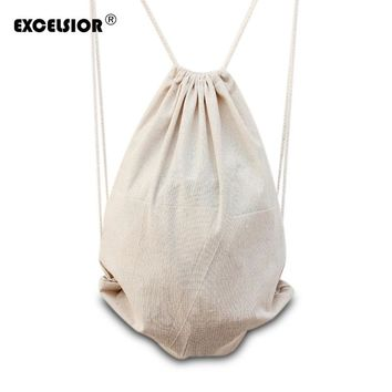 EXCELSIOR Pure Color Women's Cotton Linen Drawstring Backpack Portable Travel String Bags Ladies Travel Pouch Mochila Bucket