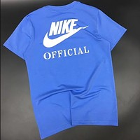 NIKE 2018 new men's tide brand behind the big LOGO sports breathable T-shirt F0659-1 blue
