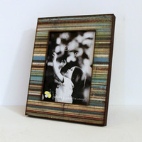 5x7 Wood Photo Frame Distressed Stripes READY TO SHIP