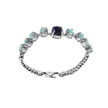 9 Stone Sugilite and Larimar Bracelet On Sterling Silver Herringbone Chain