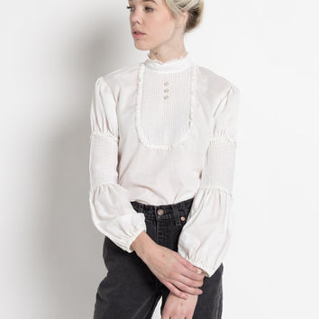 Vintage 70s White Cotton and Lace Pintuck Blouse with Blouson Sleeves | S/M