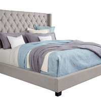Westerly Light Gray Bed   Gray Upholstered Bed   American Freight