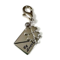 Lucky Clover Charm Be Sweet Envelope Silver Cell Phone Zipper Pull Special Friend Love, Thread Stitch Counter Planner Marker Jewelry Supply