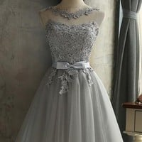 2018 New Women Grey Lace Bow Grenadine Lace-up Bridesmaid Elegant Tutu Homecoming Mini Dress