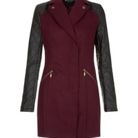 Miss Real Burgundy Quilted Leather-Look Sleeve Coat