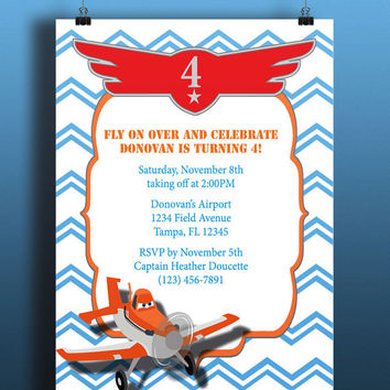 Instant Download-Planes Dusty Crophopper Skipper Chevron Blue Red DIY Printable Birthday Party Baby Boy Toddler Shower Invitation Template