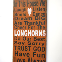 Family Rules Sign Texas Longhorns Team Sign Fathers Day Gift Mancave Distressed Wood Sign Wedding Gift Bridal Shower Gift Housewarming Gift