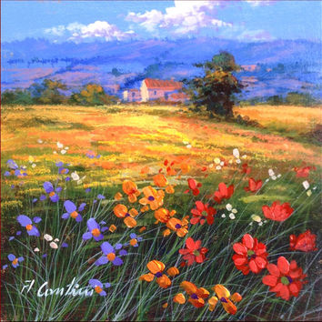 N*5 Italian landscape original oil painting of Anna Cantini enjoy with colors & flowers Italy Italia - Dipinto paesaggio Italiano