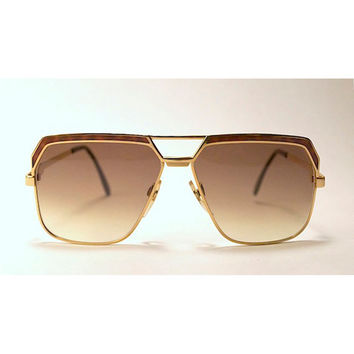 Vintage 80s CAZAL Metal Gold Tone Sunglasses with Tortoise Print.