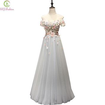SSYFashion 2017 New Sweet Lace Flower Evening Dress Boat Neck Floor-length Long Formal Dresses Bride Banquet Elegant Party Gown