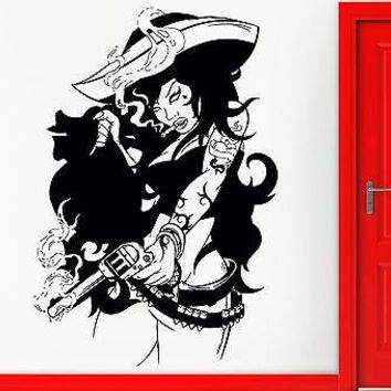 Wall Sticker Vinyl Decal Sexy Pirate Bad Girl Gun Gangster Cool Decor Unique Gift (z2456)