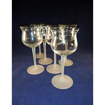 Tulip  Glasses With White Stems S/6