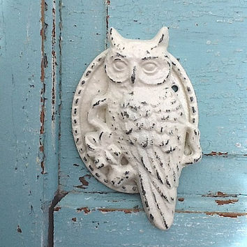 Owl Cast Iron Door Knocker, Distressed Creamy White, Autumn Decor, New Home, White Owl