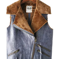 Faux Fur Collar Suede Vest with Zip Detail
