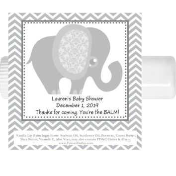 15 Grey Elephant Baby Shower Lip Balm Favors
