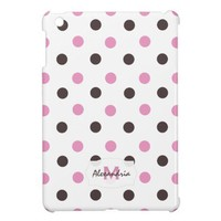 Pink & Brown Polka-dot: Monogram iPad Mini Case from Zazzle.com
