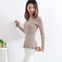 Winter V-neck Slim Knit Tops Sweater [8511497543]
