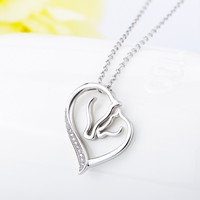 Silver Necklace with Heart Pendant in Horse Shape Fashion Jewelry 18""