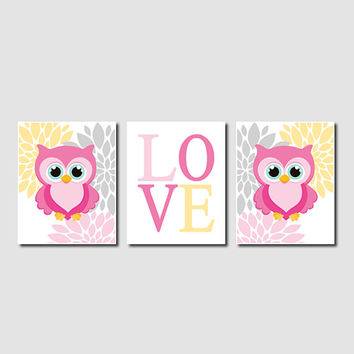 Owl Nursery Artwork Lavender Pink Gray Aqua Yellow Floral Love Set of 3 Prints Baby Girl Modern Nursery Art Decor Wall Art Picture Bedding