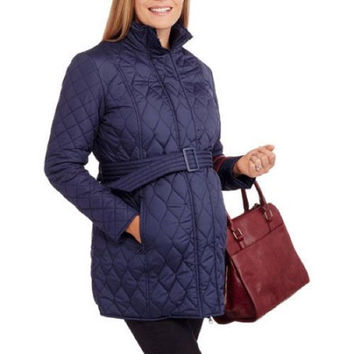 Faded Glory Maternity Long Belted Quilted Jacket, Peri Night, 2X