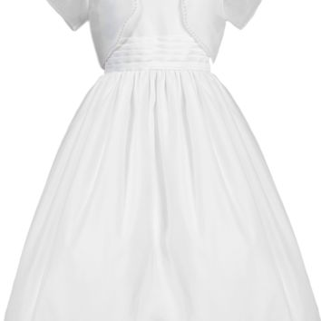 White Satin & Organza Girls Communion Dress w. Bolero Jacket 5-12 & 8x-16x