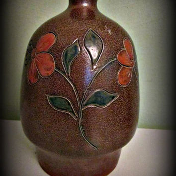 Antique Vintage Vase German Pottery Art Ceramic, Home Decor, Table Decor, Floral Design, Cottage Chic