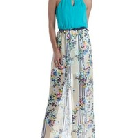 Green Combo Mixed Print Chiffon Maxi Dress by Charlotte Russe