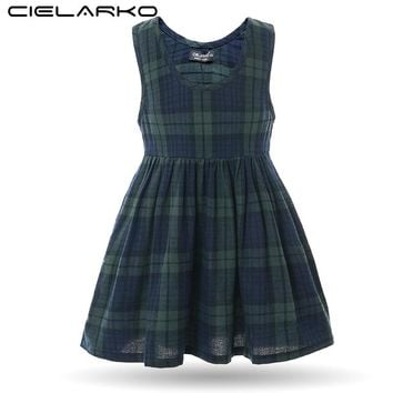 Cielarko Girls Dress Sleeveless Plaid Kids Dresses Vintage Summer Cotton Children Party Frocks Baby Casual Clothing for Girl