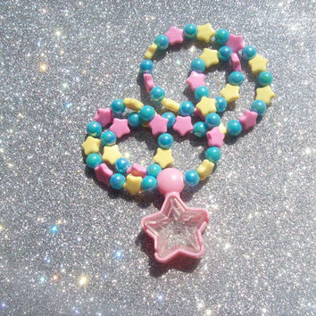 Starlight Princess - Sweet Pastel Stretch Necklace with Pink Star Locket