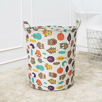 Waterproof Animal Canvas Sheets Laundry Clothes Laundry Basket Storage Basket Folding animal picture print clothes Storage Box