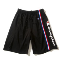 Champion Summer New Fashion Letter Print Women Men Shorts Black