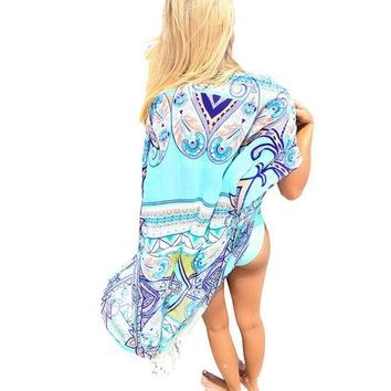 Summer Chiffon Beach Cover Tassel Beach Cardigan Feminino Bikini Bathing Cover Pareo Beach Tunic
