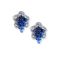 G. Verdi & C. Diamond & Blue Sapphire Flower Earrings