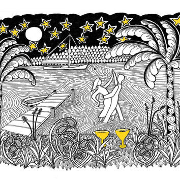 Zentangle Fantasy BEACH DANCING Greeting Card: A Blank Vermont Romantic Valentines Day Card
