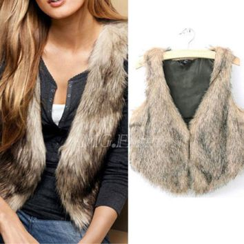 CREYHY3 Brand Winter Spring Women Vest Coats Vintage Faux Fur Vests For femme Elegant Casual Coats fashion female outerwear Clothing