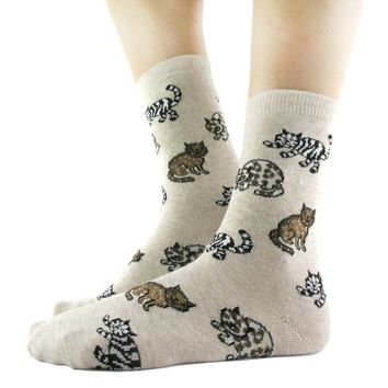 Ultimate Cat Lady Kitty Print Socks for Women in Beige