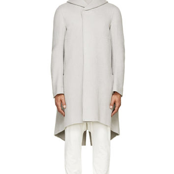 Rick Owens Pearl Grey Cashmere Hooded Coat