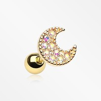 Golden Crescent Moon Sparkle Cartilage Tragus Earring