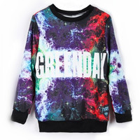 Purple Long Sleeve Lightning GREENDDY Print Sweatshirt