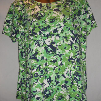 Vintage 90s Grunge Lime Neon Green Black White Floral Abstract Rose Charter Club Cotton Shirt Blouse Womens Size XL