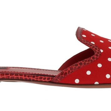 Red Cotton Crocodile Flat Sandals