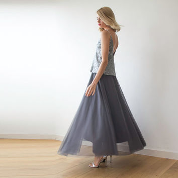 Maxi Grey tulle skirt , Gray tutu maxi skirt ,Bridesmaids tulle skirt ,Party skirt , Tulle skirt for adults