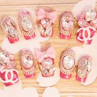 Sparkle Princess Kawaii Diamonds Bling nails with roses and hearts full false/fake 3D nail gyaru Japanese hime